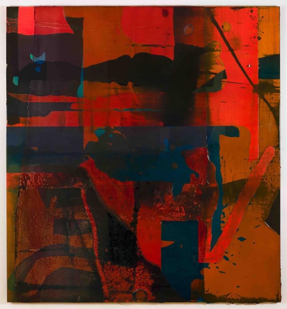 Gymnastic Addictions, 2017, Aluminum panel, linen, acrylic, pigmented urethane, fiberglass, epoxy resin, 193 x 180 x 3.8 cm