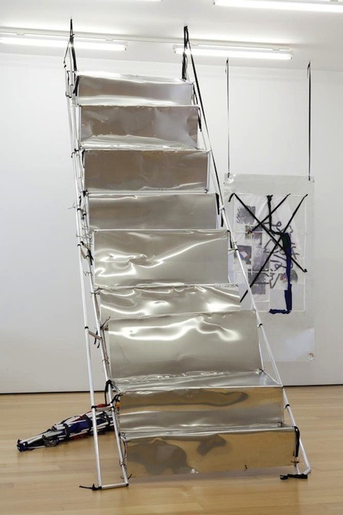 Yorgos Sapountzis, The perspective after theatre, 2014, Aluminium plate, band, cable, aluminium and plastic rods, 500 x 130 cm