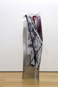 Yorgos Sapountzis, Corner point point - red green, 2014, Aluminium plate, fabric, band, pins, ink, aluminium rods, 200 x 90 x 50 cm