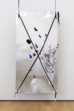 Yorgos Sapountzis, Reklame Athens Mapping, 2014, Aluminium plate, fabric, band, pins, ink, aluminium rods, 200 x 100 cm