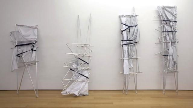 Yorgos Sapountzis, Athens Screens, 2014, Aluminium and plastic rods, fabric, band, aluminium band, dimensions variable