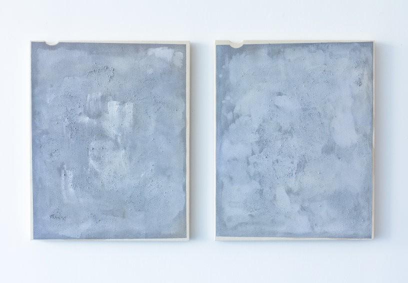 Arthur Ou, Untitled (Efke 6), 2012, Primer, silver enamel, silver halide, dirt, acrylic paint on canvas, Diptych: 20 x 16 inches each