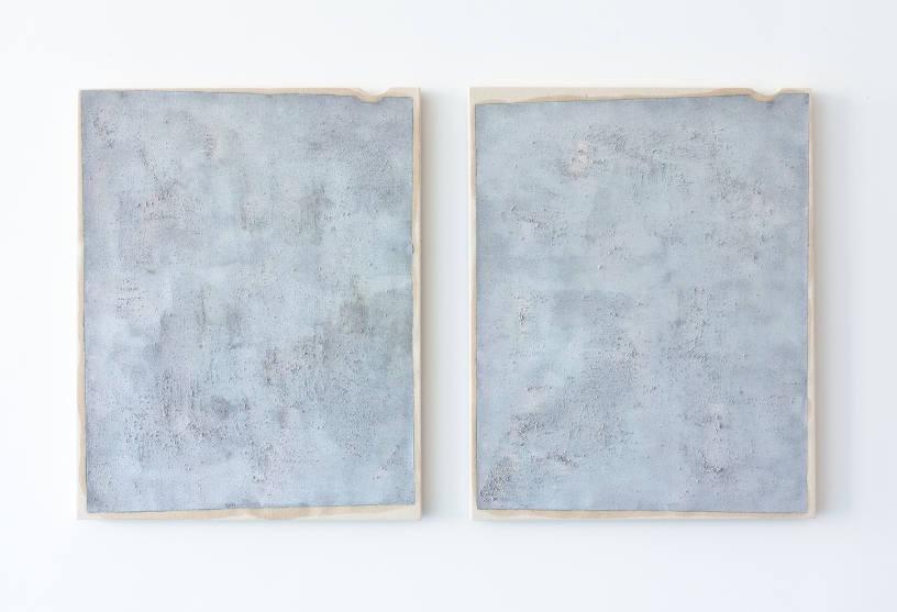 Arthur Ou, Untitled (Efke 5), 2012, Primer, silver enamel, silver halide, dirt, acrylic paint on canvas, Diptych: 20 x 16 inches each