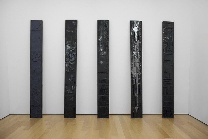 Alexandros Tzannis, Memories of Green, 2014, Glazed ceramic tiles, iron, wood, 35 x 300 cm each