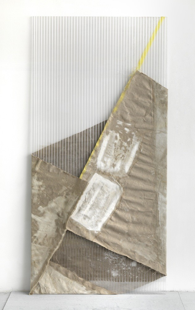 Untitled, 2011, Watercolour, spraypaint on canvas, polycarbonate, colored/transparent tape, 200 x 98 cm