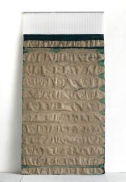 Untitled, 2011, Pigment, glue on canvas, polycarbonate, coloured tape, 250 x 123 cm