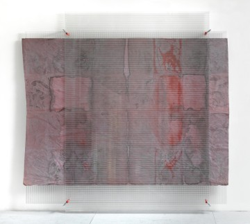 Untitled, 2011, Watercolour on cotton, polycarbonate, screw clamps, 210 x 212 cm