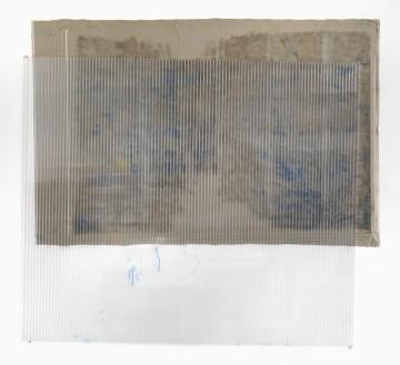 Untitled, 2011, Watercolour, glue on canvas, polycarbonate, 210 x 230 cm