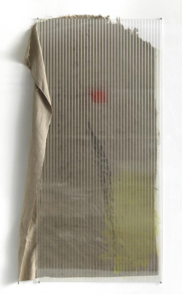 Untitled, 2011, Watercolour, pigment, glue on canvas, polycarbonate, spraypaint, 200 x 130 cm