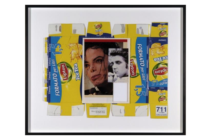 Untitled (Michael Jackson-Elvis), 2010 Collage, 46 x 61 cm