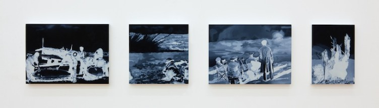 Untitled (Hellbird), 2014 Οil and acrylic on 4 panels, 2 panels 18x25 cm, 1 panel 18x18 cm, 1 panel 13x18 cm
