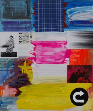U - Turn, 2017-18, Acrylic and collage on canvas, 180 x 150 cm