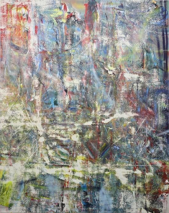 Untitled (Bandarban), 2015, Acrylic, enamel, alcohol, and salt on oil primed linen, 246.4 x 195.6 cm (97 x 77 in)