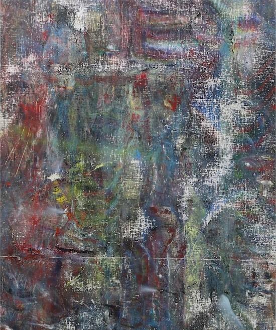 Untitled (Rangunia), 2015, Acrylic, enamel, alcohol, and salt on oil primed linen, 162.6 x 134.6 cm (64 x 53 in)