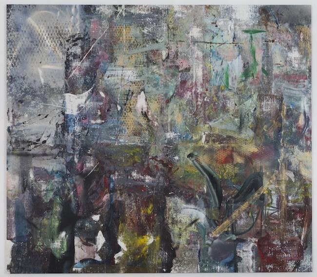 Saarloq, 2017, Oil, enamel, salt and alcohol on vinyl, 203.2 x 231.1 cm