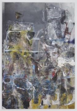 Savissivik, 2017, Oil, enamel, salt and alcohol on vinyl, 203.2 x 139.7 cm