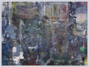 Niaqornat, 2017, Oil, enamel, salt and alcohol on vinyl, 152.4 x 203.2 cm