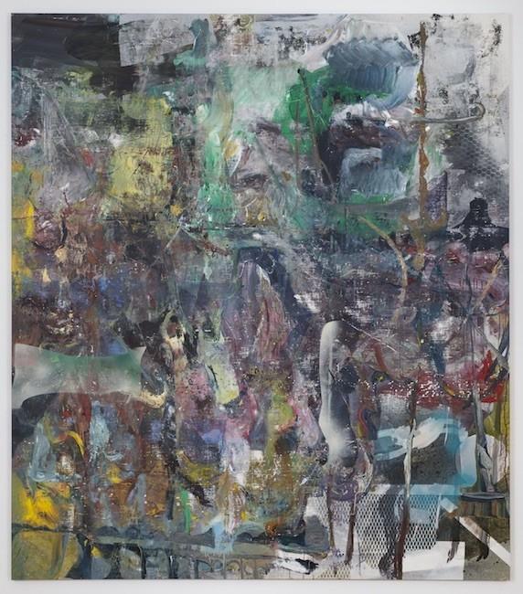 Tasiusaq, 2017, Oil, enamel, salt and alcohol on vinyl, 231.1 x 203.2 cm