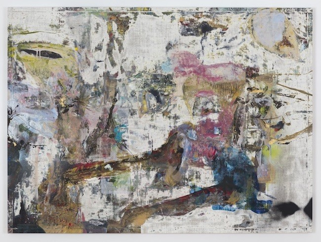 Ammassivik, 2017, Oil, enamel, salt and alcohol on vinyl, 95.3 x 128.3 cm