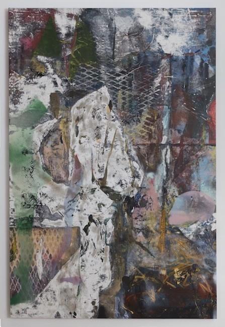 Oqaatsut, 2017, Oil, enamel, salt and alcohol on vinyl, 139.7 x 94 cm