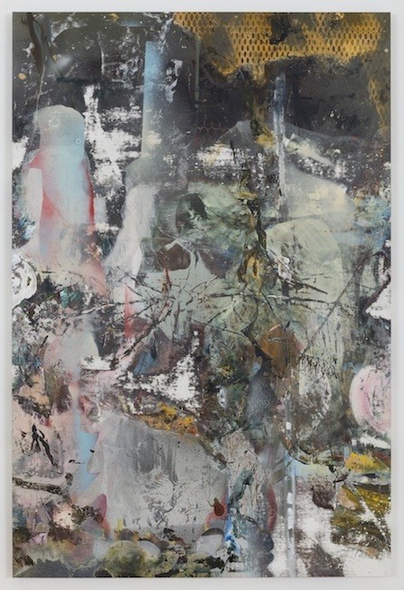 Kangerluk, 2017, Oil, enamel, salt and alcohol on vinyl, 139.7 x 94 cm
