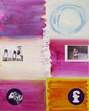 Logopainting F, 2016, Acrylic, Collage on canvas, 200 x 160 cm