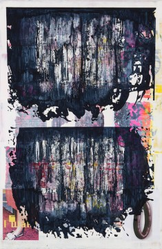 Doublepuddle 2, (Sausage), 2015, Acrylic, collage on canvas, 200 x 130 cm