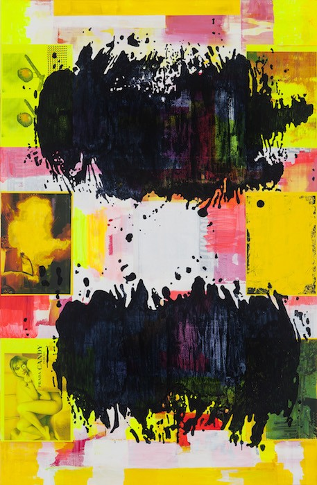Puddlepainting yellow, 2015_16, Acrylic, collage on canvas, 200 x 130 cm