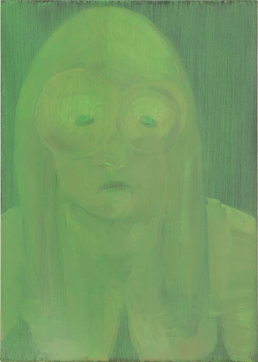 See? I had seen it precisely this way (Green face), 2010-21, Oil on canvas, 36 x 25 cm