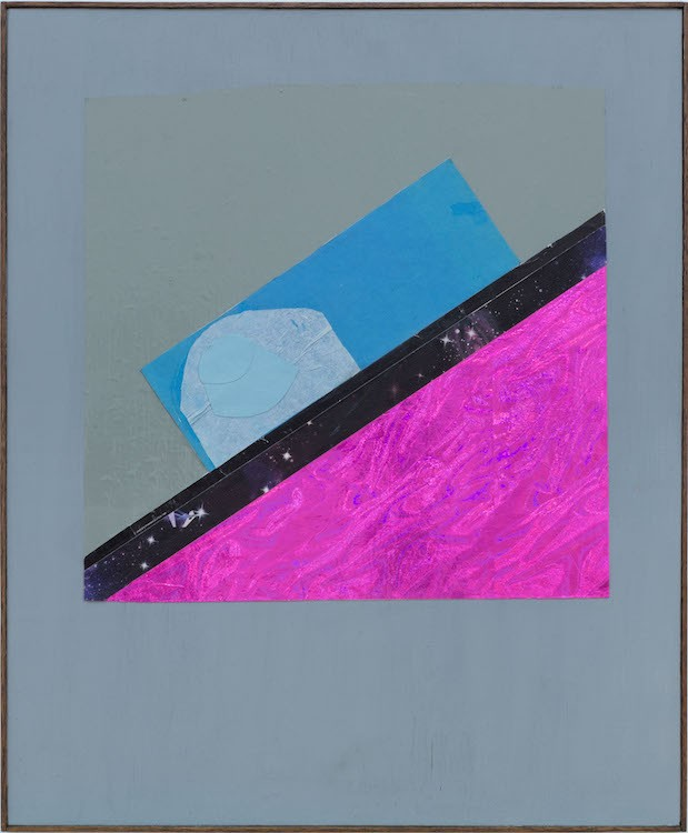 Downhill (Again), 2020, Collage on acrylic painted wood in artist-made frame, 66 x 54.5 cm